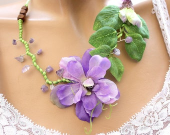 Floral necklace purple and green leaf