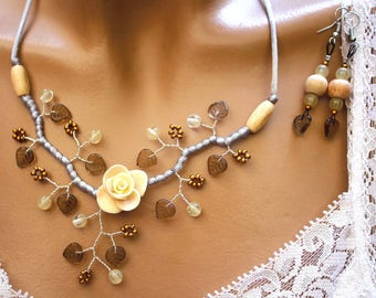 Floral ornament branch copper wire and beads