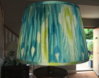 Turquoise and yellow silk ikat shade