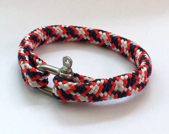 Men's red, white and blue nautical rope bracelet with stainless steel shackle 10mm