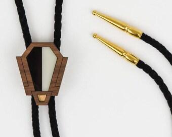 Deco Bolo Tie, Bolero Tie, Laser Cut, Black and White, Geometric Jewelry