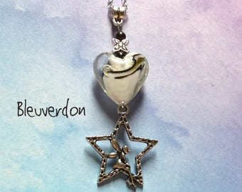 Fairy pendant necklace and star and pearls