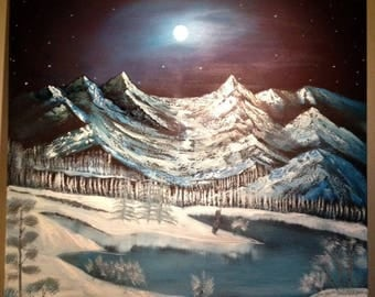 Majestic Moonlit Mountains oil painting