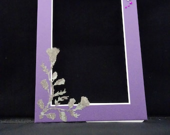 Custom Photo Mat with Thistle and Jewel Accents