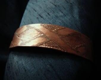 Etched copper bracelet, Patina bracelet, Cuff bracelet (WB57)