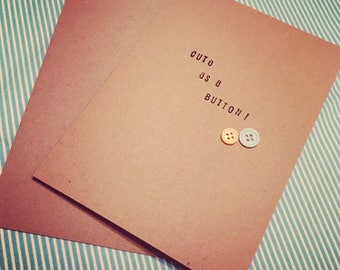 Cute as a Button - New Baby Greetings Card