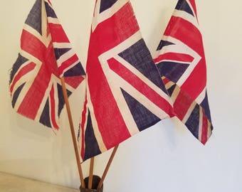 Set of 3 Vintage Union Jack British Parade Flags