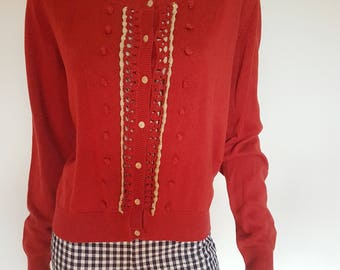 princess highway red knit cardigan