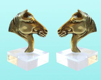 Vintage Brass & Lucite Bookends - Pai