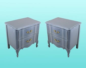 Mid-Century French Provincial Nightstands, A Pair