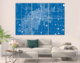 Amarillo Texas, City Map, Canvas Print, Wall Art, Multi panel
