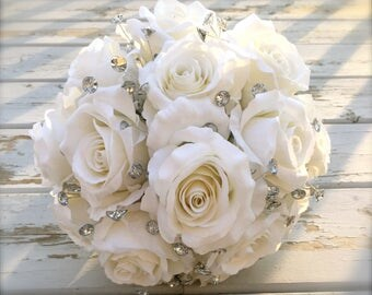 bling and ivory bouquet/bling bouquet/bridal bouquet/artificial bouquet/bridal bouquet/bling bridal bouquet