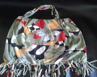 Nice bag khaki and small patterned fringe reversible
