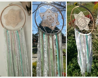 Lace turquoise and cream dreamcatcher