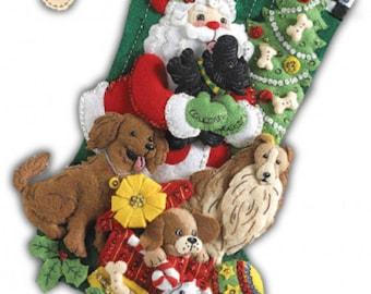 Pre-order 2018 Finished Bucilla Santa Paws Christmas stocking