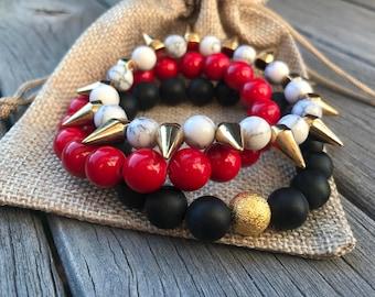 Game Day Bracelet Stack | Ohio State | Georgia Bulldogs| Atlanta Falcons | Sorority | Girls Bracelets | Accessories | Football Jewelry