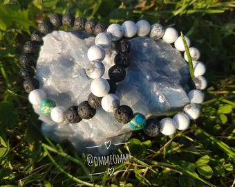 His and Hers Crystal Gemstone Bracelet Set