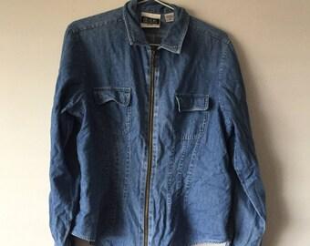 Bill Blass Petite Womens Denim Zipper Jacket