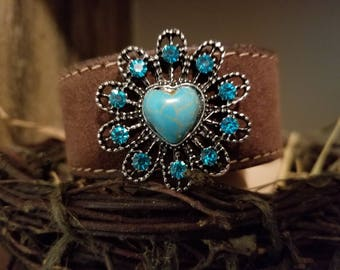 Turquoise leather bracelet cuff, Brown and Turquoise