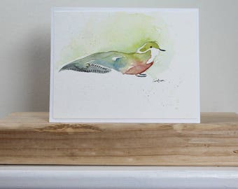Watercolor Green and Red Bird Card