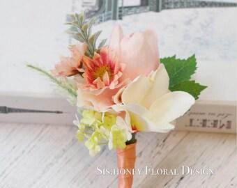 Tulip Boutonniere, Silk Boutonniere, Groom Boutonniere, Bout, Artificial Boutonniere, Groom Flower, Wedding Boutonniere