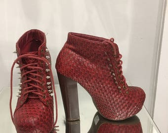 Red lace up  ankle boots, studs, size 6, Mojito, customised, upcycled