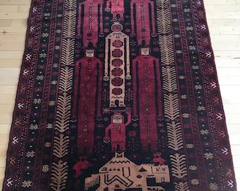 Vintage Afghan Adraskan Baluch Rug