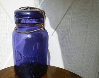 Double Safety Purple Quart Mason Jar