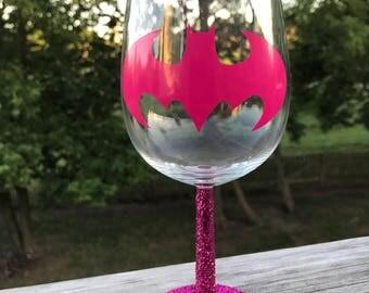Batman Pink Glitter Wine Glass