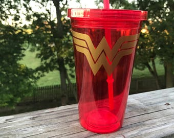 Wonder Woman Themed Tumbler with straw