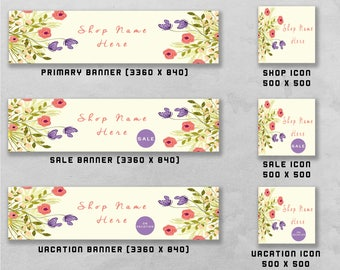 Premade Banner and Icon Set for Etsy and Facebook, Shop Front / Cover Image, Business Design & Branding.