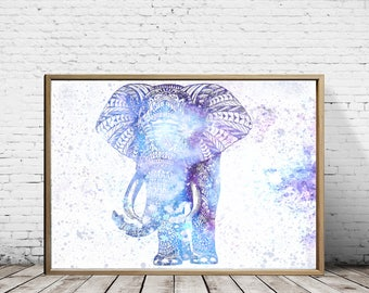 Wall Art, Wall Decor, Elephant Decor, Elephant Print, Elephant Painting, Animal Print, Animal Art, Elephant art, Elephant Tapestry, Yoga Art