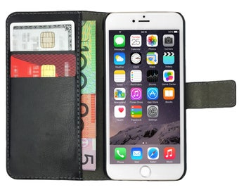Black Premium Leather Flip Case Card Wallet and Stand Magnetic Cover for Apple iPhone 5, 5s, SE, 5c, 6, 6s, 6 Plus, 6s Plus, 7, 7 Plus