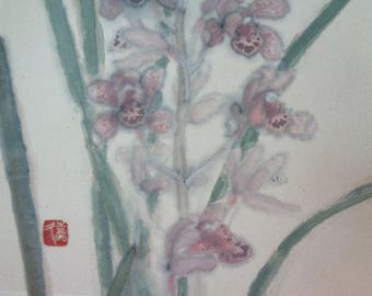 VJ223 : Old Japanese watercolor painting on rice paper paste on shikishi board