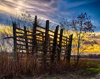 Fine, Art, Photography, sunset, corncrib, farm