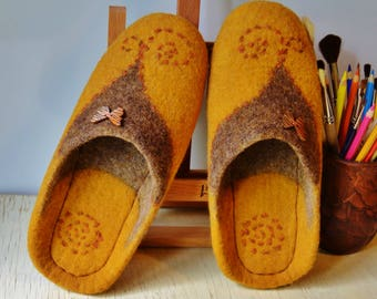 "Felted slippers ""Solar"""