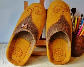 "Felted slippers ""Solar"""