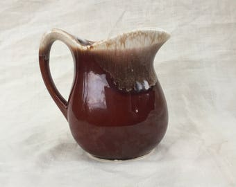Mid Century Hull Brown Drip Creamer Made in USA,Pitcher,Old Word Look, Collector Item