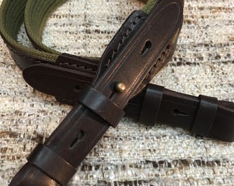 Green Canvas Leather Wide Rifle Sling Shotgun Strap Hunting Shooting