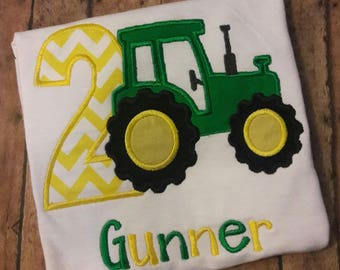 John Deere Tractor Embroidered Birthday Shirt **Fast Shipping**