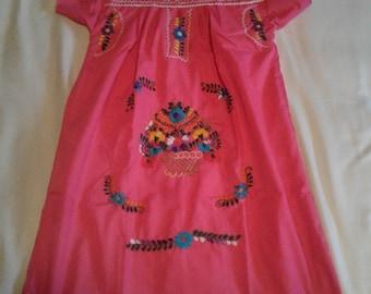 KIDS 8 - Hot Pink (Regular Length / Below Knee) Mexican Dress #K103
