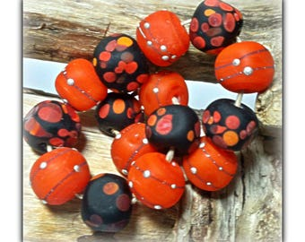 California Poppies Handmade Nugget Lampwork Beads