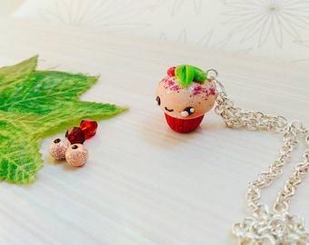 Kawaii cupcake charm necklace, Christmas release , kawaii Christmas special jewelry, cute kawaii charm