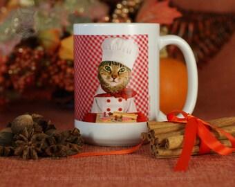 Mrs. Parberry's Chef Mug 11–15 oz, Cat Mug, Cute Cat Mug, Gift Mug, Crazy Cat Lady Mug, Cat Coffee Mug, Cat Tea Mug, Kitty Mug, Chef Mug