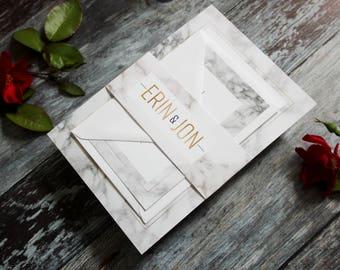 Marble wedding invitation bundle, marble wedding invitation set, marble and gold wedding stationery suite, marble wedding invite