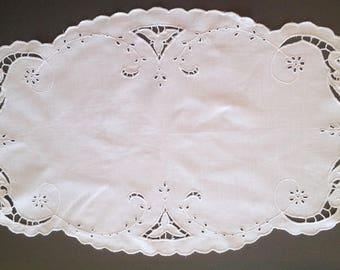 Oval handmade white doily