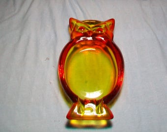 Viking Glass Owl Ashtray Persimmon
