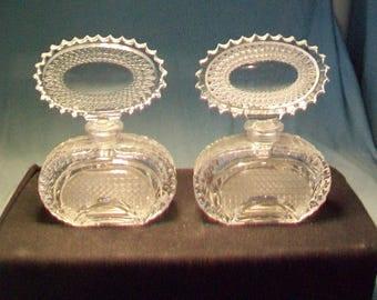 Two Oval Top Checkoslavakia Perfume Bottles