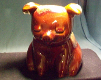 Hull Pottery Pig Bank Teal Ears
