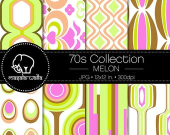 Digital Scrapbook Paper | 70s Collection, Melon | Seamless Retro Pattern  | Printable